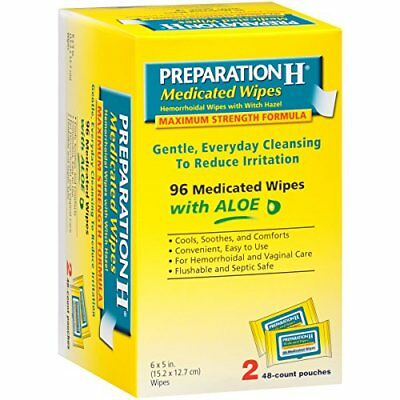 Preparation H Medicated Hemorrhoidal Wipes With Witch Hazel And Aloe 96 Ct Each