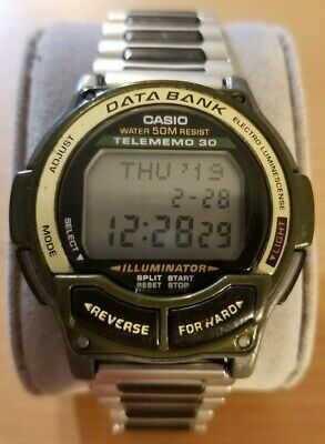 Casio Illuminator DB-34H men digital watch data bank new battery vintage