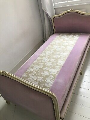 Antique Vintage French Upholstered single bed frame and matching chair
