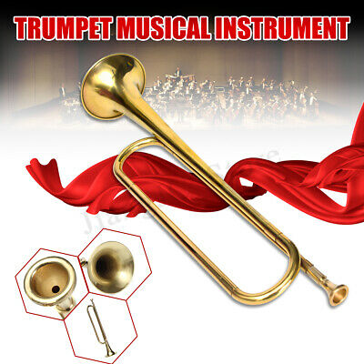 AUS B Flat Trumpet Gold School Band Tone Bugle For Student Kids Military Toy