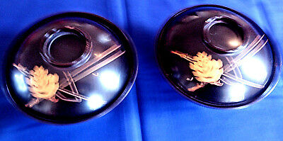 Vintage Japanese Laquerware - Two Matching Bowls & Covers