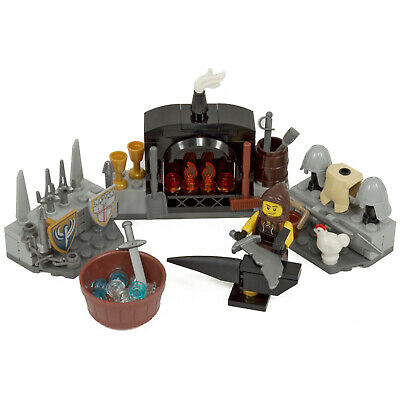 LEGO Castle Blacksmith Set | Incl Anvil, Furnace, Weapons Rack & Minifigure