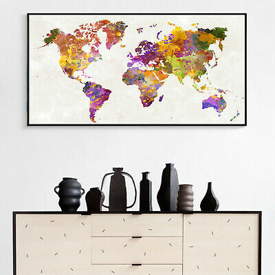 Abstract Watercolor Art Canvas Poster World Map Oil Paint Wall Decor No Frame B1