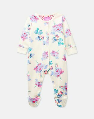 Joules Baby 203974 Long Sleeve Babygrow With Feet in CREAM MARGATE POSY