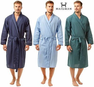 a7c041e6b0 Mens Poly Cotton Lightweight Dressing Polycotton Gown Robe Wrap By Haigman  7390