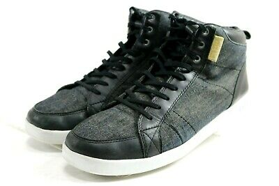 CLAE Russell High Top Sneakers  139 Men s Canvas Lace-up Shoes Size 12 Black ec4cb9def