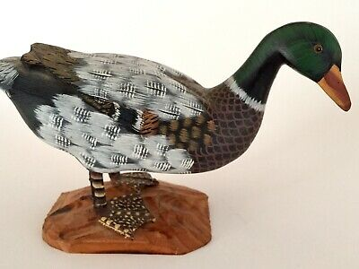 Mallard 4in Wooden Duck Figure Hand Painted Wood Figurine Mount Carved Small Vtg