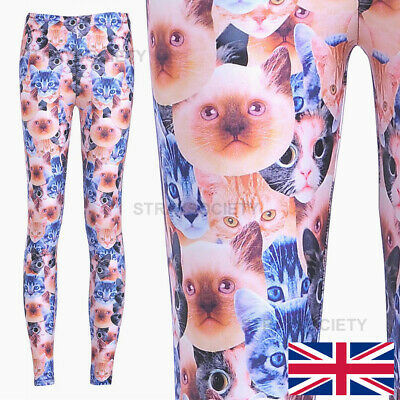 911d915086292 Crazy Cat Lady Classic Leggings 8-12 UK weird cats kittens animals stretchy  yoga