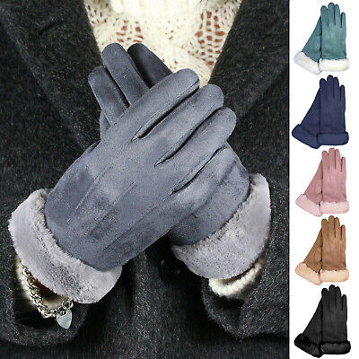 Ladies Womens Faux Suede Soft Warm Cosy Winter Gloves Cosy Liner & Faux Fur Cuff