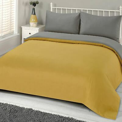Brentfords Reversible Ochre Grey Duvet Cover with Pillowcase Linen Set From 7.95