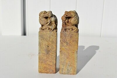 2 Antique Hand Carved And Engraved Chinese Dragon Stone Seal Signet
