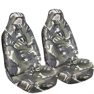 Heavy Duty Waterproof Front Seat Covers Protectors Grey Camo Seat Protectors