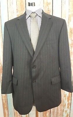 JOS A BANK Signature collection 46R Black Pinstriped 2 Piece Wool Mens Suit