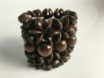 Womens Brown Wooden Beads Stretch Elastic Cuff Bracelet Accessory