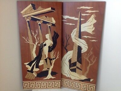 Midcentury Paint On Board Modernist Wall Hangings 1960s