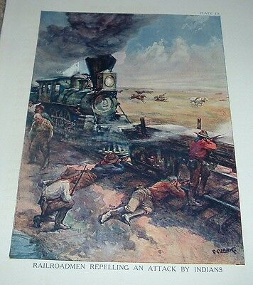 1920s Color Print RAILROADMEN REPELLING AN ATTACK BY INDIANS Railroad Plate