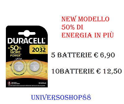 Batterie 2032 Pile Cr2032 Dl2032 Br2032 Duracell 3V Litio Bottone 5 O 10 Pezzi