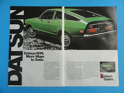 Vintage 1974 Datsun B-210 Green Original Paper Print Advertisement