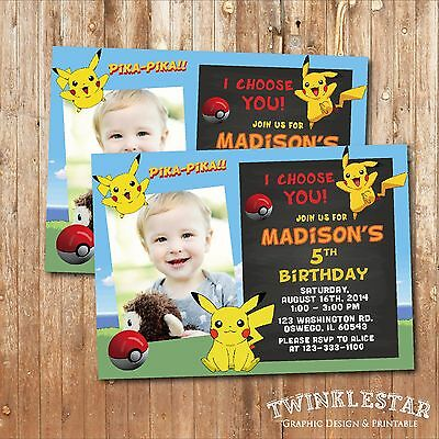 Pokemon Pikachu Birthday Invitation