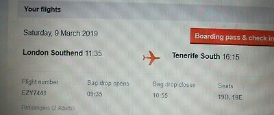 2 x EasyJet Flight Tickets London Southend (Essex) to Tenerife South 9th March