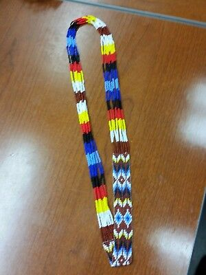 Native American Beaded Necklace Geometric Pattern with Four Sacred Colors