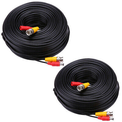 2 Pcs 100FT Security Camera Cable CCTV Video Power Wire BNC RCA Black Cord -QN91