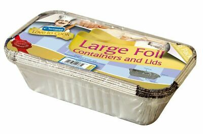 Aluminium Foil Food Containers+Lids Perfect For Home And Takeaway Use Large Size