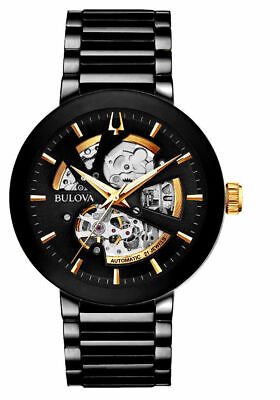 Brand New Bulova Men's Black IP Stainless Skeleton Automatic 42mm Watch 98A203