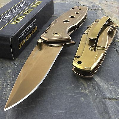 TAC FORCE ROSE GOLD FOLDING TACTICAL SPRING ASSISTED POCKET KNIFE Open Assist
