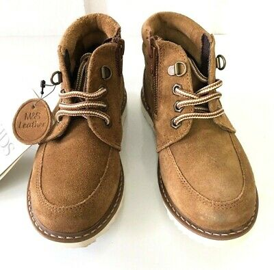 Boys Desert Boots / M&S Tan Real Suede Leather Hidden Zip s6 Infant BNWT Marks