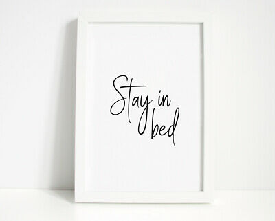 Stay In Bed Wall Print - Wall Art, Home Decor, Bedroom Print, Bed Print