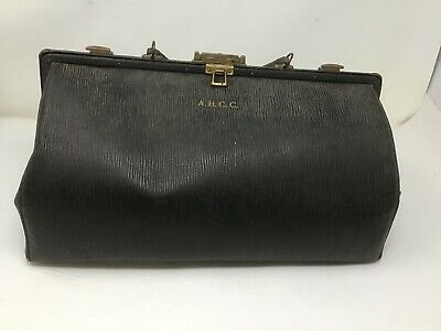 Antique LEATHER & BRASS CLASP DOCTOR DR. MEDICAL BAG Monogramed A.H.C.C.