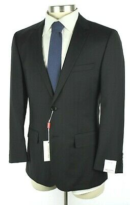abed94927 NWT TINO COSMA Italy Solid Black Year-Round Wool Flat Front Suit 40 R Slim