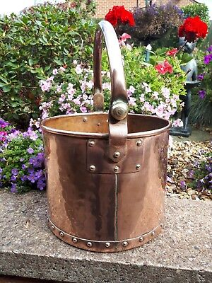 Antique copper and zinc bottom coal bucket arts crafts  2.870kg
