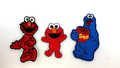 "Sesame Street 3"" Embroidered Patch Set of 3- Elmo/Baby ELMO/Cookie Monster"