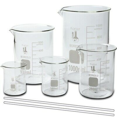 Glass Beaker Set w/ 2 Glass Stirring Rods, 5 Sizes - 50, 100, 250, 500, and 1L