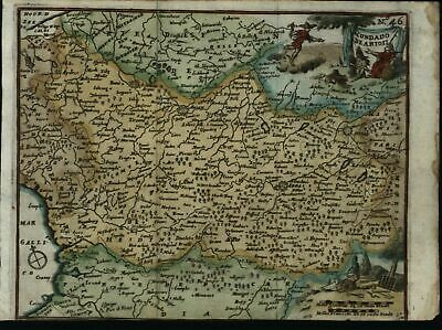 Artois northern France 1711 fine rare decorative old vintage antique map