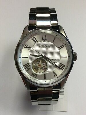 085a6bb40 BULOVA Men's Wilton Stainless Steel Silver White Dial Automatic WATCH 96A207