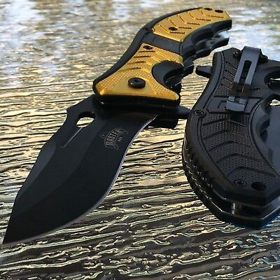 """8.25"""" MASTER YELLOW SPRING ASSISTED TACTICAL FOLDING KNIFE Blade Pocket Open"""