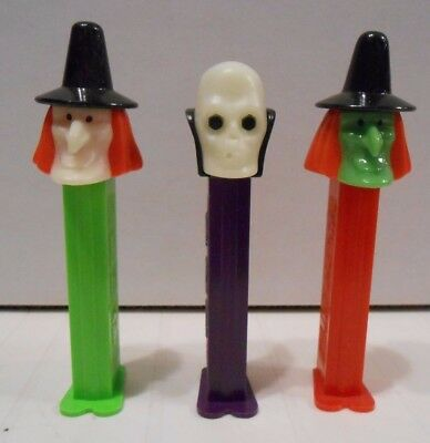 3 Halloween Pez Dispensers with feet, marked 1971, Slovenia, Witches and Skull!