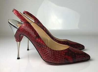 buy online 43308 31068 CHRISTIAN LOUBOUTIN TWISTOCHAT 120 Burgundy Black Python Heels Pumps Euro 40