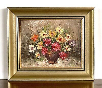 VINTAGE Original Painting Floral Still Life Acrylic Art Flowers in Vase Painting