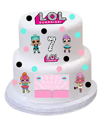 EDIBLE LOL SURPRISE Dolls Birthday Party Cake Topper Wafer ...