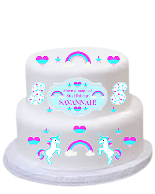 RAINBOW UNICORN Edible Image DIY CAKE KIT Birthday Cake Topper Pre Cut EASY FUN