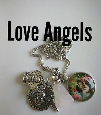 Code 238 Love Angel charged n Infused Necklace Rose Quartz cupid wing romance