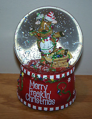 San Francisco Music Box Company MERRY FREAKIN' CHRISTMAS Musical Snowglobe NEW