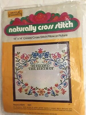 Vintage Crewel Cross Stitch Kit Baby Birth Record Pillow Picture Stitchery 1975