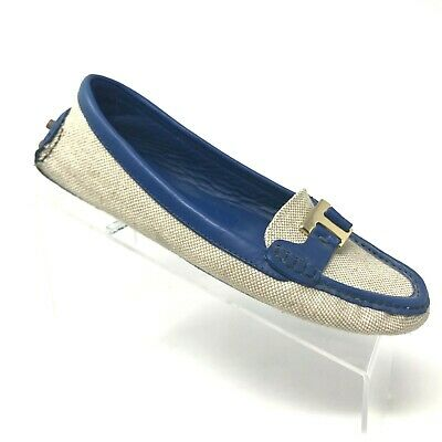6609052ec1a Tory Burch Casey Driver Loafer Natural Blue Leather Trim Logo Hardware SIZE  8.5
