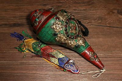 Chinese Tibetan Buddhist hand-embedded gem conch instruments Town House Evil