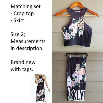 eec54c621f boohoo Women's Floral Crop Top & Midi Skirt Co-Ord Set Outfit Black Floral  US